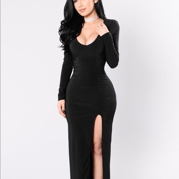 Black long sleeve w/split Dress NWT